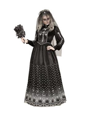 Tumma Halloween-Luurankomorsianpuku Naisille