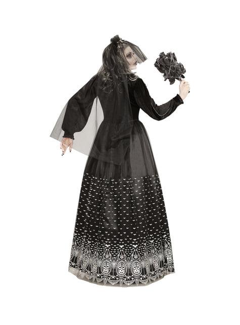 Donker Halloween skelet bruid kostuum voor vrouwen