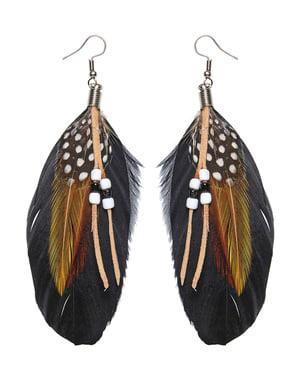 Set med örhängen fjädrar med pärlor dam