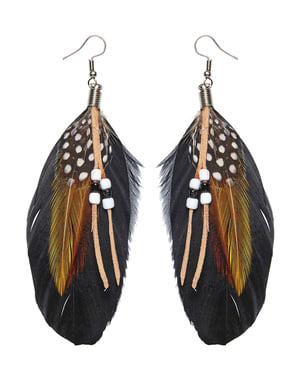 Women's feather earing set with decoration
