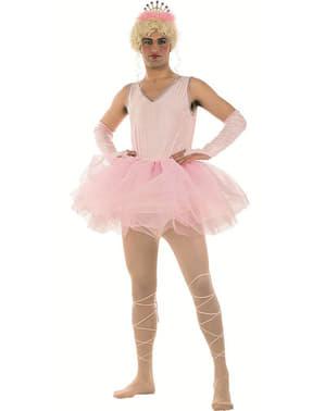 Ballerina med tylskørt kostume pink til mænd