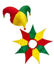 Kit disfraz de bufón multicolor para adulto