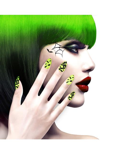 Uñas de murciélagos y telarañas adhesivos para mujer - para tu disfraz