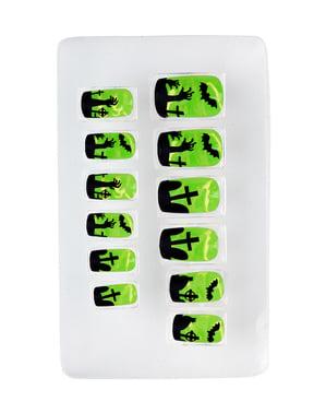 Umělé fluorescenční nehty s motivem hřbitovat pro dámy