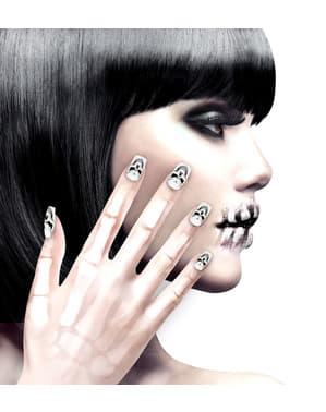 Haftende Totenkopf-Fingernägel für Frauen