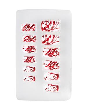 Unhas ensanguentadas adesivas para mulher
