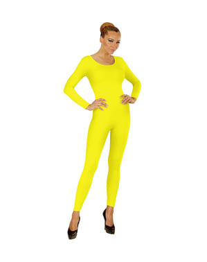 Body amarelo fluorescente para mulher