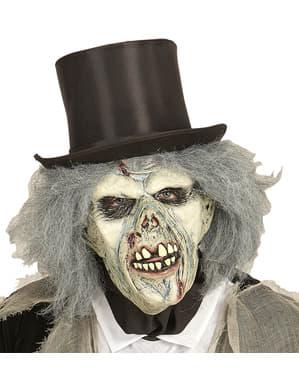 Máscara de zombie descomposto com peruca para adulto