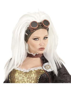 Hvid steampunk paryk med solbriller til kvinder