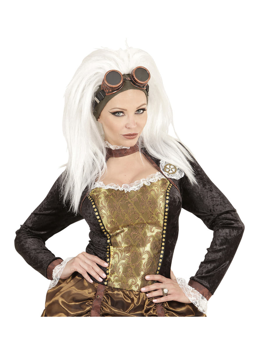 Perruque steampunk blanche avec lunettes femme livraison - Reduction blanche porte frais de port gratuit ...
