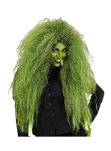 Peluca de bruja verde para mujer