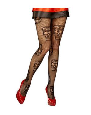 Meias-calças de Catrina rede preta para mulher