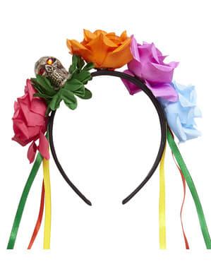 Diadem Catrina mit mehrfarbigen Rosen für Erwachsene