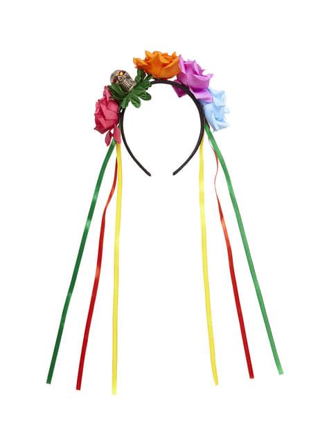 Diadema de Catrina rosas multicolor para adulto - para tu disfraz