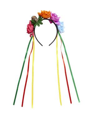 Aikuisten monivärinen ruusukuvioinen Catrina-päähine