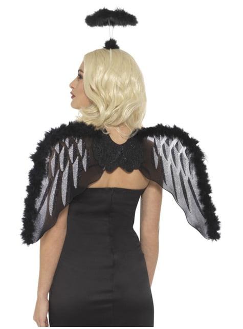 Alas y aureola de ángel caido negras con plumas para adulto