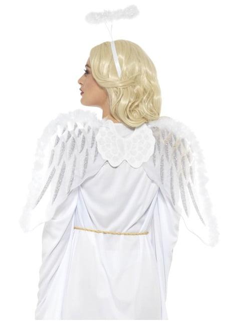 Alas y aureola de ángel celestial blanca con plumas para adulto
