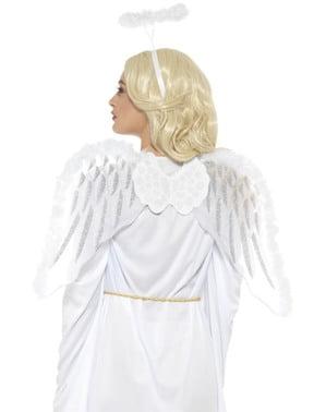Hvite vinger med fjær og glorie til voksne
