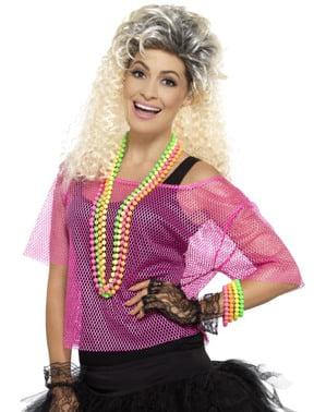 Maglietta a rete rosa fluo per donna