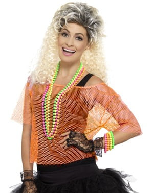 Neon orange Fishnet T-shirt for women