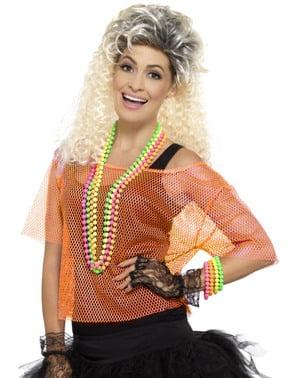Neon-oranges 80er Jahre Netz-Shirt für Frauen