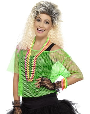 Neon grønn fiskenett t-skjorte for dame