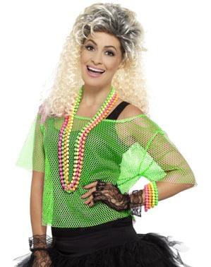 女性用ネオングリーンフィッシュネットTシャツ