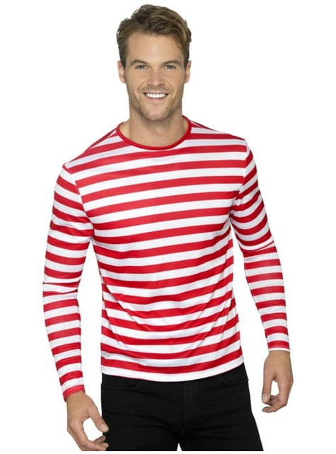 Red and white striped t-shirt for men
