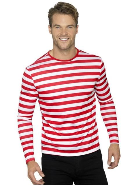 T-shirt de riscas vermelhas e brancas para homem