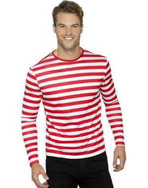 חולצה עם פסים אדום ולבן לגברים