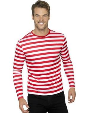 Мъжка тениска на бяло и червено райе