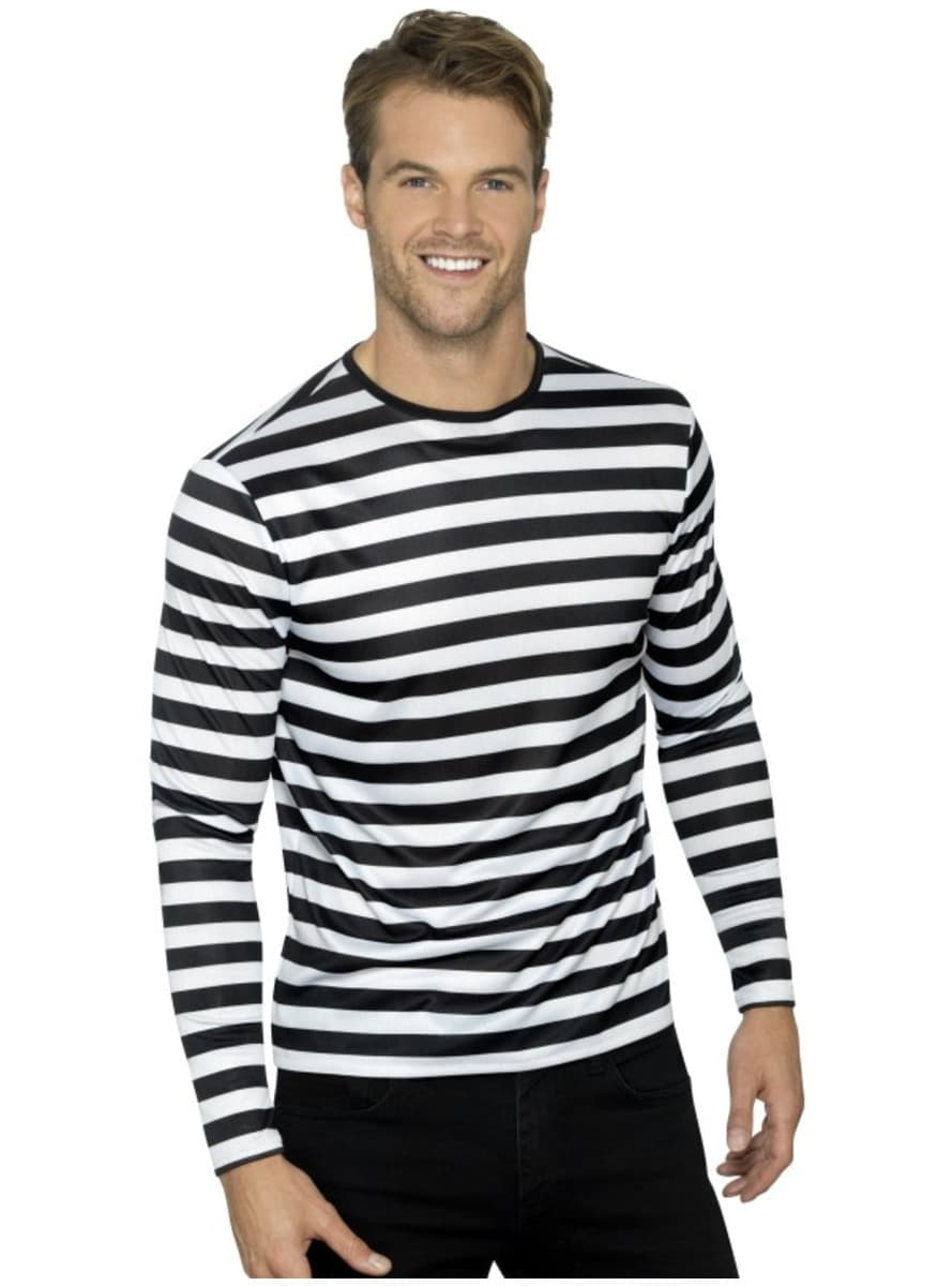 Black and white striped t-shirt for men   Funidelia
