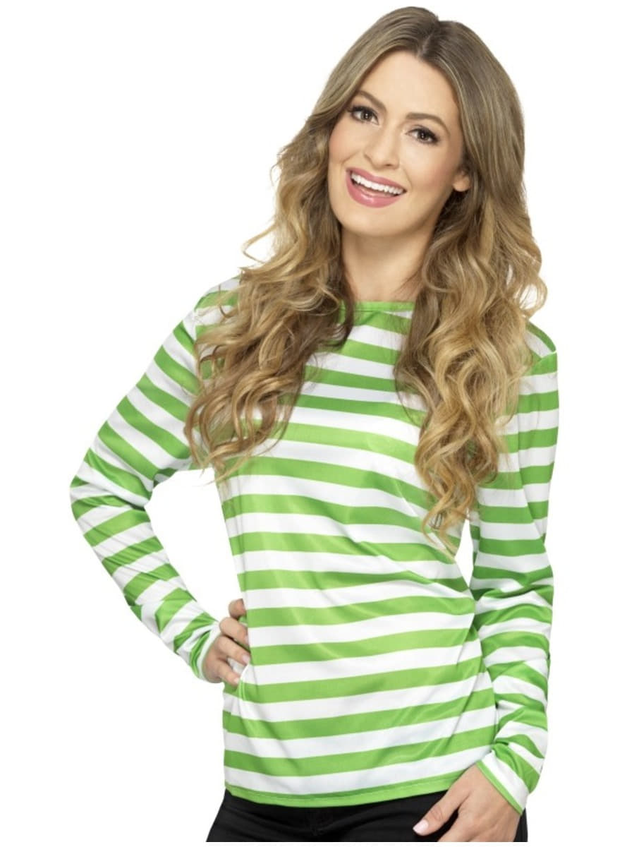 Green And White Striped T Shirt For Women Funidelia