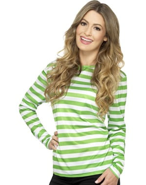Green and white striped t-shirt for women