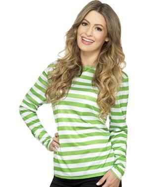 T-shirt de riscas branca e verde para mulher