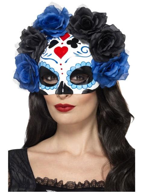 Antifaz de Catrina azul con flores azules y negras para mujer