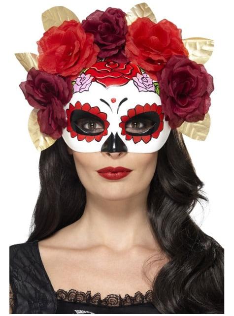 Máscara de Catrina com flores vermelhas e grenás para mulher