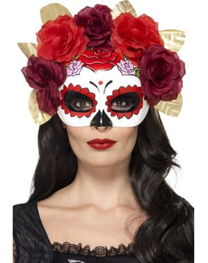 Mask Catrina med blommor i rött och granat dam