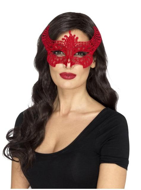 Antifaz de demonio rojo bordado para mujer