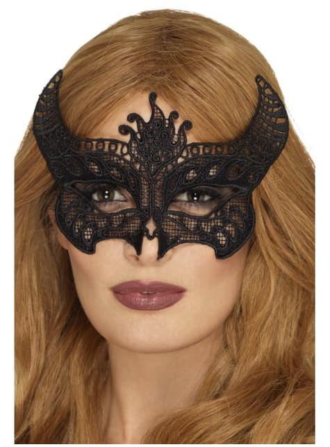 Antifaz de demonio negro bordado para mujer