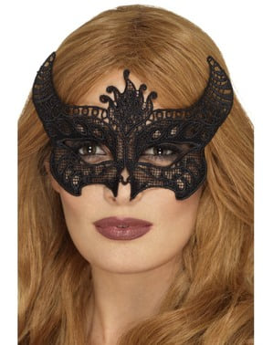 Black embroidered demon eyemask for women