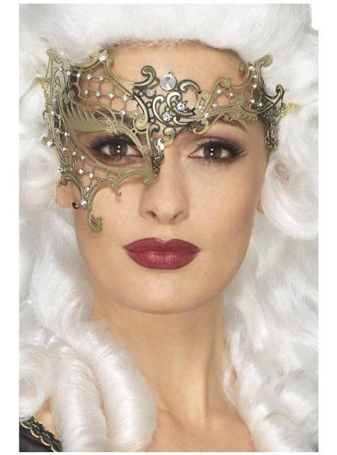 Máscara de fantasma da ópera dourada para mulher