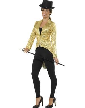 Goud pailletten jas voor vrouw