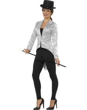 Stříbrné flitrové sako pro ženy