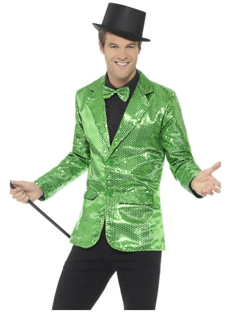 Casaco de lantejoulas verde para homem