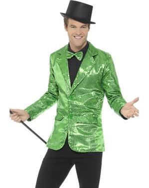 Veste à paillettes verte homme