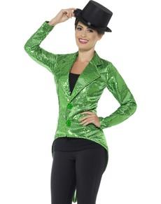 Chaqueta de lentejuelas verde para mujer