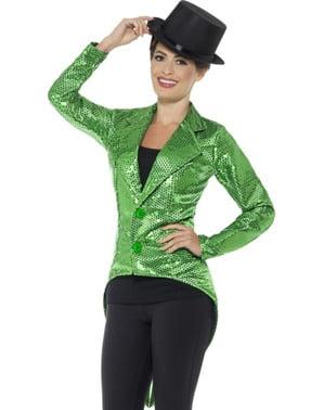 Зелено яке за пайети за жени