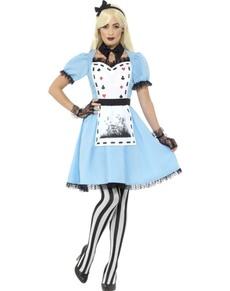 Mørkt Alice i Eventyrland kostyme for dame