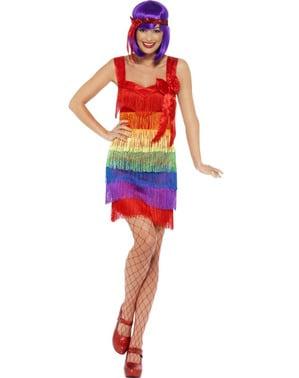 Costum de domnișoară multicolor anii 20 pentru femeie
